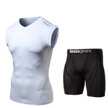 V Neck Sleeveless Compression Top & Shorts White Black 2 Pack SET | Tesla