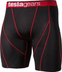 Mens Compression Black Red Short Pants Gym Workout Fitness Tesla