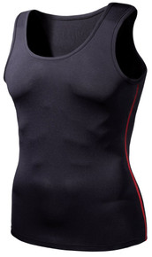 Mens Compression Black Red Tank Top Skins Gym Workout Fitness Tesla