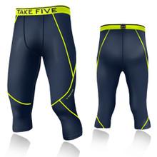 New Mens Compression Capri 3/4 Pants Base Layer Tights Navy Neon Take 5