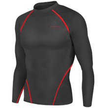 New Mens Compression Top Long Sleeve Skins Black Red Take 5