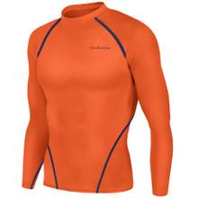 New Mens Compression Top Long Sleeve Skins Orange Take 5
