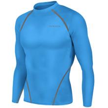 New Mens Compression Top Long Sleeve Skins Light Blue Take 5