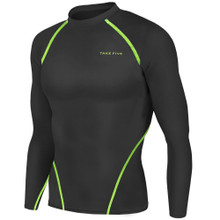 New Mens Compression Top Long Sleeve Skins Black Neon Take 5