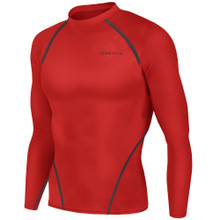 New Mens Compression Top Long Sleeve Skins Red Take 5