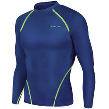 New Mens Compression Thermal Top Long Sleeve Skins Navy Neon Take 5