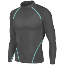 New Mens Compression Thermal Top Long Sleeve Skins Grey Take 5