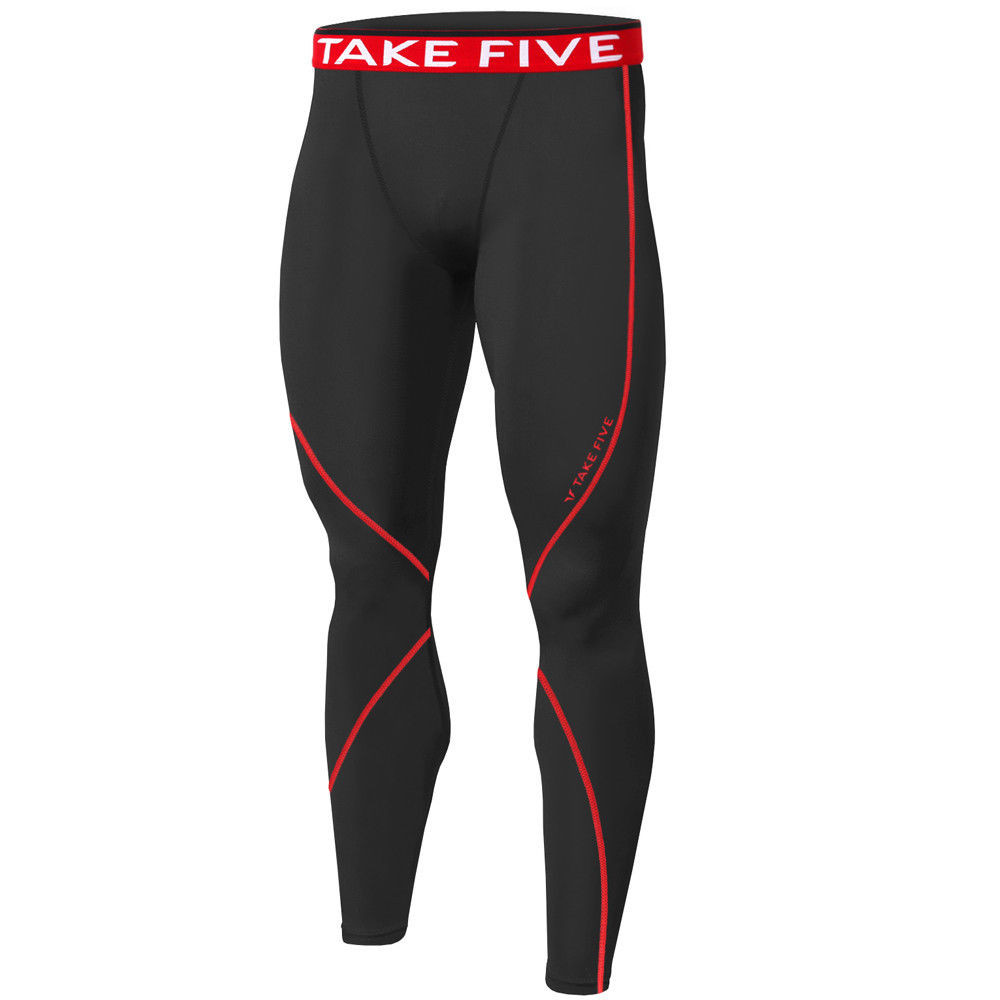 81f52f083b ... New Mens Compression Thermal Pants Base Layer Tights Black Red Take 5.  Image 1. Loading zoom