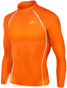 Kids Long Sleeve Compression Top Fluro Orange Take 5