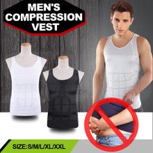 Mens Vest White Slimming Body Shaper Vest Tank Top Belly Buster Undershirt Lose Weight