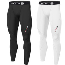 Activ8 Mens Thick Compression Pants Baselayer Quick Dry Sports Tight Black White