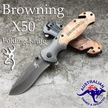 BROWNING X50 Folding Opening Pocket Knife Hunting Camping Survival Fishing Blade