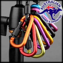 SET | Aluminum Screw Locking Carabiner Outdoor D-Ring Hook Clip Keychain Camping