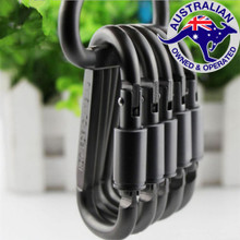 5 x Grey Aluminum Lock Carabiner Snap Hook Screw Clip Keychain Camping Fishing