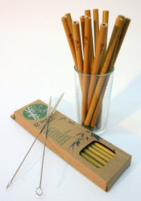 12 Bamboo Drinking Straws Natural Plastic Free Reusable FREE Cleaners Organic