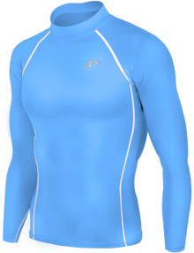 Mens Long Sleeve Compression Top Sky Blue Take 5