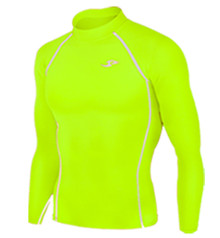 Mens Long Sleeve Compression Top Fluro Yellow Take 5