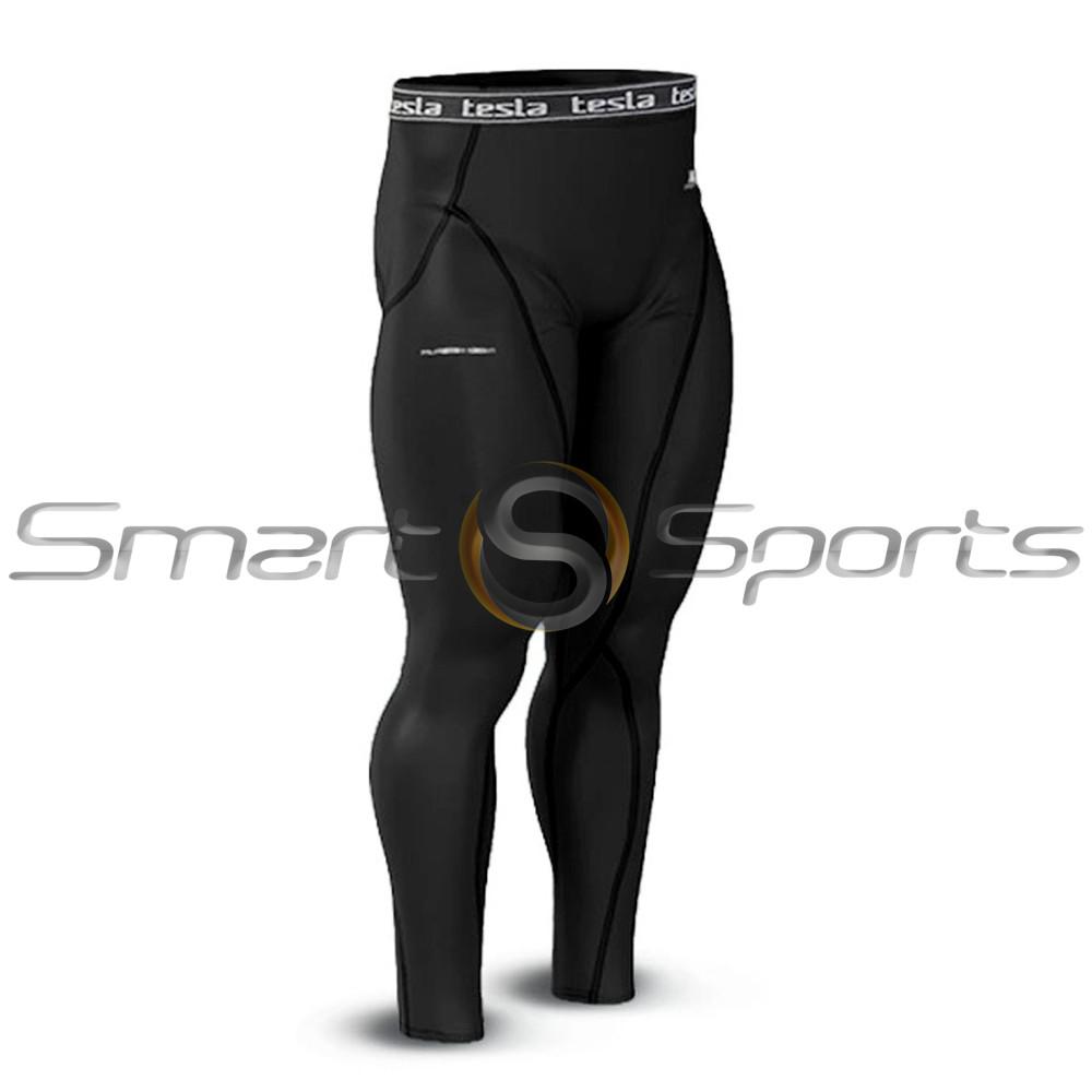 314d714f9a4eb Mens Compression Long Pants Base Layer Skin Tight Tesla Black. Loading zoom