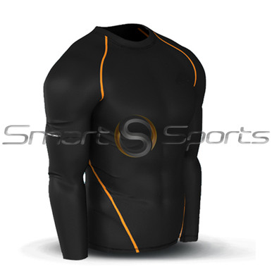 Black Orange Stitch Compression Long Sleeve Top