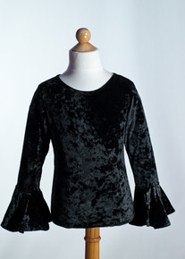 Black Crew Neck Top Bell Sleeve