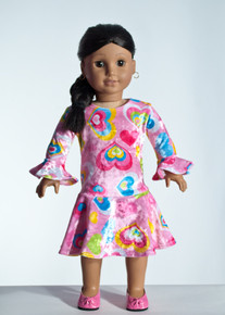 Pink Hearts Doll Dress     Matching Girl Dress available