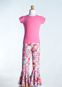 Pink Crew Neck Top &  Pink Talk Bell Bottom     Matching Doll Outfit available