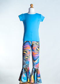 Blue Crew Neck Top &  Multi Dali Bell Bottom     Matching Doll Outfit available