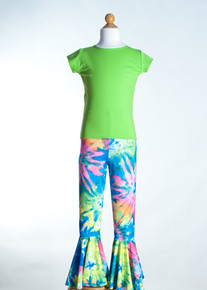 Green Crew Neck Top &  Multi Tie Dye Bell Bottom     Matching Doll Outfit available