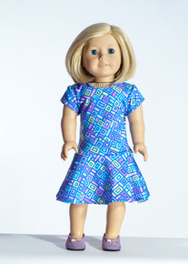 Purple Blocks Doll Dress     Matching Girl Dress available