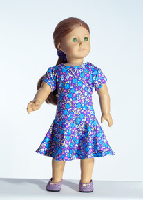 Purple Flowers Doll Dress     Matching Girl Dress available
