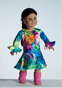 Multi Tie Dye Doll Dress     Matching Girl Dress available