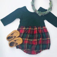 Knit Harlow - Bubble OR Dress - Green Plaid