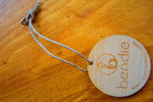 Laser etched bamboo hangtag with jute string and mini safety pin