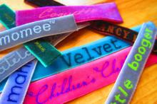Printed velvet clothing labels