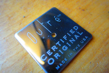 Mirror metal label laser etched logo