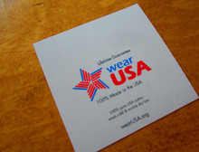 "1.5""x1.5"" printed nylon logo care label. Ships in 24 hours fully customized."