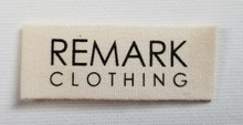 End Folds Micro Organic Cotton Clothing Label. 2 inch x .75 inch. 1 color print (any color). 2 week lead time. A scan of your personal logo label will be sent to you for approval before full production is executed.