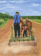 Teaching the Boy - 9x12 giclee' on stretched canvas by George Inslee, unframed