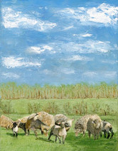 Peaceful Grazing - 11x14 giclee' on canvas by George Inslee, unframed