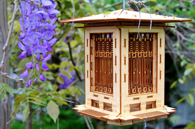 Bird Feeder, Craftsman Prairie Style Wooden 3D puzzle kit. DIY model you snap together! Mason Jar with Seed Included.