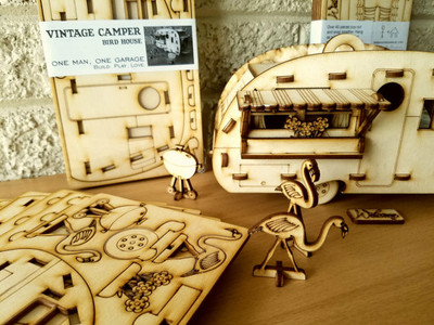 Vintage Camper Bird House. Scale model play-set you can build and use! Bring back the love of travel and camping with a miniature trailer.