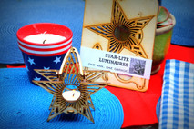 Star-lite, hanging tealight luminaries kit. Natural wood model kit you punch out and snap together!