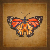 Wood Butterfly - Yellow Monarch
