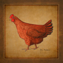 Wood Rhode Island Red Hen
