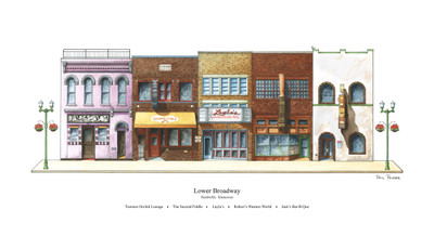 The Lower Broadway, Nashville print features five entertainment and tourist-related businesses in the heart of the Broadway Historic District including Tootsies Orchid Lounge, The Second Fiddle, Layla's, Robert's Western World and Jack's Bar-B-Que.