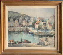 Item #42 - Port de Honfleur - Original oil on canvas - Lucien Delarue