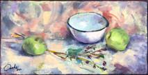SB - Little Green Apples - Original Oil on canvas