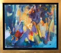 SB - Burst of Light with Frame - Original Oil on canvas