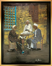 RJ - Checkers in Cairo Framed - Original Oil on canvas