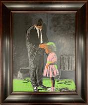 RJ - Daddy fix my hair - Framed - Original Oil on canvas